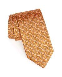 Ferragamo - Orange Horse Print Silk Tie for Men - Lyst
