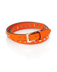 Valentino - Orange Studded Wrap Bracelet for Men - Lyst