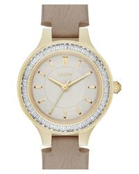 DKNY | Metallic 'chambers' Leather Strap Watch | Lyst