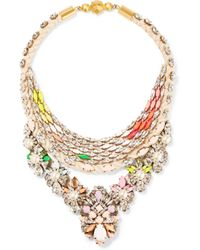 Shourouk - Metallic Crystal, Faux Pearl And Cord Necklace - Lyst