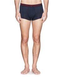 Emporio Armani | Blue Contrast Stitch Stretch Cotton-blend Boxers for Men | Lyst