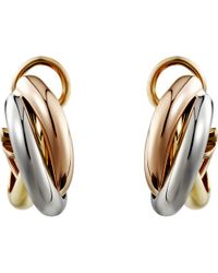Cartier | Trinity De 18ct Pink, Yellow And White-gold Earrings | Lyst