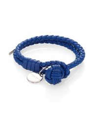 Bottega Veneta | Blue Intrecciato Leather Double-row Wrap Bracelet | Lyst