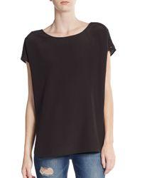 VINCE   Black Silk Cap-sleeve Top   Lyst