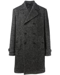 Dolce & Gabbana - Black Double Breasted Coat for Men - Lyst