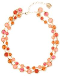 Anne Klein | Orange Gold-tone Multi-stone Two-row Necklace | Lyst
