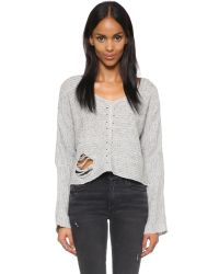 Wildfox | Gray Terra Crop Sweater - Heather Grey | Lyst