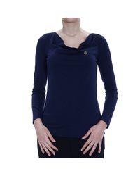Giorgio Armani - Blue T-shirt Long Sleeves Shawl Collar With Logo - Lyst