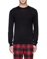 Ovadia And Sons | Black Pony Hair Elbow Patch Sweater for Men | Lyst