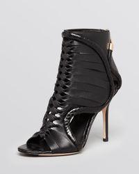 Rachel Roy | Black Open Toe Booties Leigh High Heel | Lyst