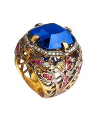 Queensbee - Blue Square Flower Ring - Lyst