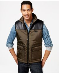 Sean John | Green Contrast-panel Oxford Vest for Men | Lyst