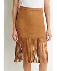 Forever 21 - Brown Fringed Faux Suede Skirt - Lyst