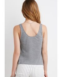 Forever 21 - Gray Ribbed Henley Tank - Lyst
