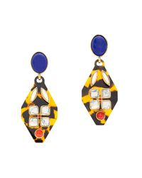 J.Crew | Blue Tortoise and Stone Earrings | Lyst
