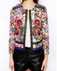 ASOS - Multicolor Jacket with Statement Floral Embroidery - Lyst