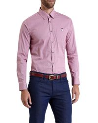 Ted Baker | Red Burcin Micro Check Dobby Shirt for Men | Lyst
