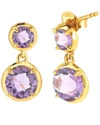 Dinny Hall - Purple Gold Vermeil Amethyst Sheba Double Drop Earrings - Lyst
