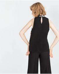 Zara | Gray Printed Gauze Top | Lyst