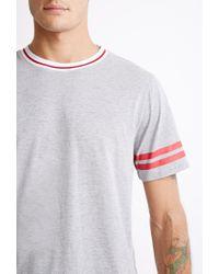 Forever 21 - Gray Varsity-striped Heathered Tee for Men - Lyst