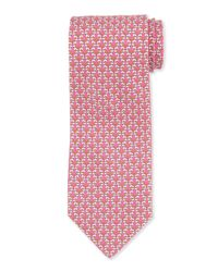 Ferragamo - Red Kissing Dog-print Tie for Men - Lyst
