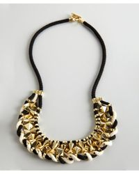 Noir Jewelry | Black And White Gold Studded Necklace | Lyst