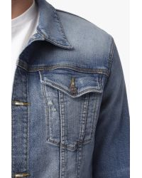 7 For All Mankind | Blue Trucker Jacket In Renegade for Men | Lyst