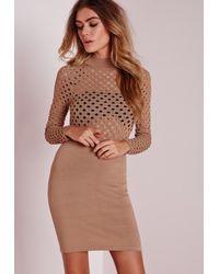 Missguided - Natural Mesh Top Mini Dress Camel - Lyst