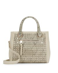 Sondra Roberts - Gray Saffiano & Snake-embossed Laser Cut Faux Leather Satchel - Lyst