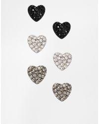 Lipsy | Black Crystal Heart Stud Trio Pack Earrings | Lyst