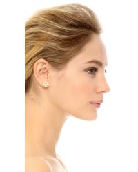 kate spade new york - Metallic Dainty Sparkler Clover Stud Earrings - Clear - Lyst