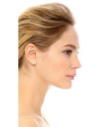 Kate Spade | Metallic Dainty Sparkler Clover Stud Earrings - Clear | Lyst