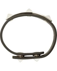Valentino - Black Studded Leather Bracelet for Men - Lyst
