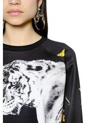 Roberto Cavalli   Multicolor Tiger & Flower Printed Jersey Sweatshirt   Lyst