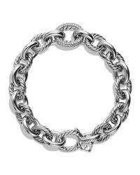 David Yurman - Metallic Oval Large Link Bracelet With Diamonds - Lyst