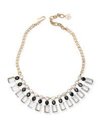 Ann Taylor - Metallic Rectangle Stone Statement Necklace - Lyst
