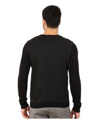 Calvin Klein | Black Cotton Modal Plaited Rib Shoulder And Jacquard Crew Sweater for Men | Lyst