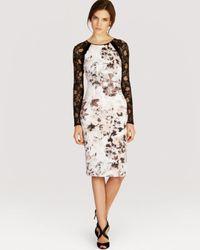 Karen Millen | White Dress Floral Print Signature Stretch | Lyst