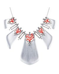 Alexis Bittar | Red Coral Deco Crystal Baguette Bib Necklace | Lyst