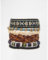 ASOS | Multicolor Woven Bracelet Pack for Men | Lyst