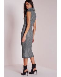 Missguided - Gray Chunky Knitted Roll Neck Midi Dress Light Grey - Lyst