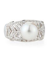Belpearl - Metallic Diamond Akoya Pearl Chevron Ring - Lyst
