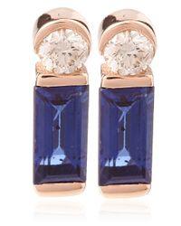 Kismet by Milka | Pink Rose Gold Sapphire And Diamond Baguette Stud Earrings | Lyst