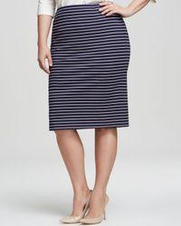 Marina Rinaldi - Blue Plus Occulto Stripe Pencil Skirt - Lyst
