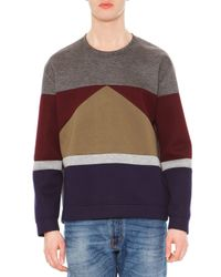 Valentino - Gray Long-sleeve Colorblock Sweater for Men - Lyst
