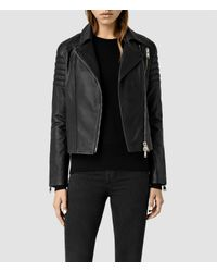AllSaints - Black Alder Leather Biker Jacket Usa Usa - Lyst