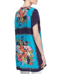 Tolani - Multicolor Tiffany Silk Floralprint Shortsleeve Tunic - Lyst