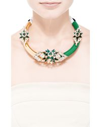 Shourouk - Zulu Crystal-Embellished Metal Necklace In Green - Lyst