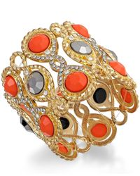 INC International Concepts | Pink Gold-tone Large Stone Stretch Bracelet | Lyst
