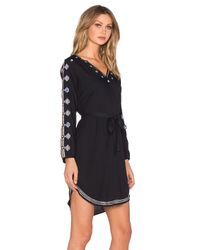 Velvet By Graham & Spencer - Black Belton Tibetan Embroidery Long Sleeve V Neck Dress - Lyst